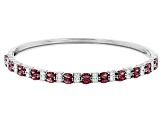Red And White Cubic Zirconia Rhodium Over Sterling Silver Bracelet 7.20ctw
