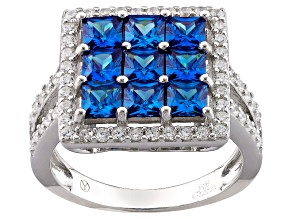 Blue And White Cubic Zirconia Rhodium Over Sterling Silver Ring 4.15ctw