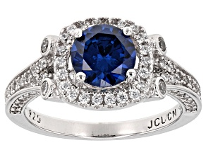 Created Blue Sapphire And White Cubic Zirconia Rhodium Over Sterling Ring 3.10ctw