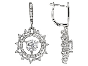 White Cubic Zirconia Rhodium Over Sterling Silver Earrings 6.70ctw
