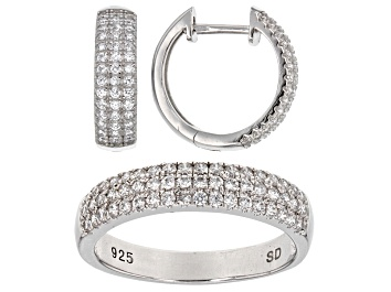 Picture of White Cubic Zirconia Rhodium Over Sterling Silver Ring And Earrings 1.50ctw