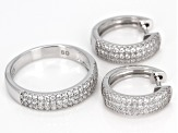 White Cubic Zirconia Rhodium Over Sterling Silver Ring And Earrings 1.50ctw