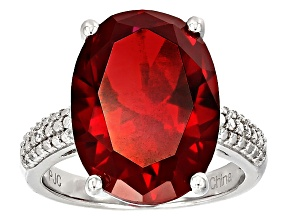 Red Synthetic Corundum And White Cubic Zirconia Rhodium Over Sterling Silver Ring 15.29ctw