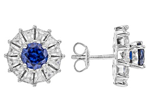 Blue And White Cubic Zirconia Rhodium Over Sterling Silver Earrings 7.40ctw