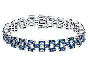 Blue Cubic Zirconia Rhodium Over Sterling Silver Bracelet 25.00ctw