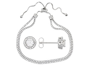 White Cubic Zirconia Rhodium Over Sterling Silver Adjustable Bracelet And Earrings 6.00ctw
