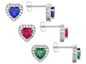 Lab Created Ruby,Blue Spinel,White/Green Cubic Zirconia Rhod Over Sterling Earrings 7.00ctw
