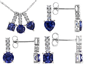 Blue And White Cubic Zirconia Rhodium Over Sterling Silver Jewelry Set 12.20ctw