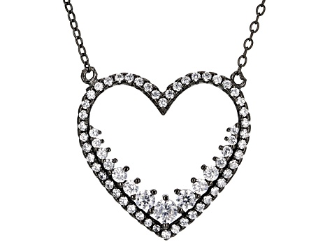 White Cubic Zirconia Black Rhodium Over Sterling Silver Heart Necklace 2.10ctw