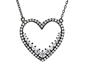 White Cubic Zirconia Black Rhodium Over Sterling Silver Necklace 2.10ctw