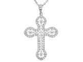 White Cubic Zirconia Rhodium Over Sterling Silver Cross Pendant With Chain 1.50ctw