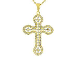 White Cubic Zirconia 18k Yellow Gold Over Sterling Silver Cross Pendant With Chain 1.50ctw