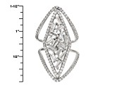 White Cubic Zirconia Rhodium Over Sterling Silver Ring 4.45ctw