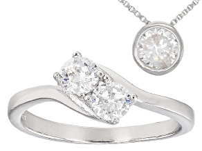 White Cubic Zirconia Rhodium Over Sterling Silver Necklace And Ring 2.37ctw