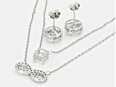 White Cubic Zirconia Rhodium Over Sterling Silver Necklace And Earrings 5.31ctw