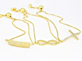 White Cubic Zirconia 18k Yellow Gold Over Sterling Silver Bracelet Set 3.44ctw
