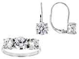 White Cubic Zirconia Rhodium Over Sterling Silver Earrings And Ring 7.80ctw