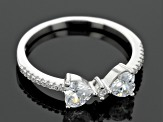 White Cubic Zirconia Rhodium Over Sterling Silver Heart Rings 3.65ctw