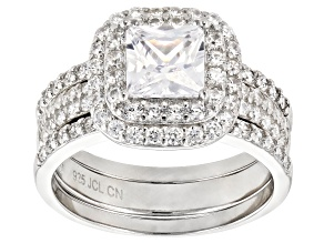 White Cubic Zirconia Rhodium Over Sterling Silver Ring With Bands 2.18ctw