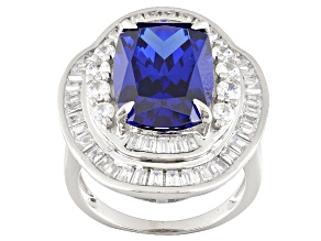 Blue And White Cubic Zirconia Rhodium Over Sterling Silver Ring 8.12ctw