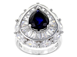 Blue Synthetic Corundum And White Cubic Zirconia Rhodium Over Sterling Silver Ring 10.75ctw