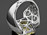 Yellow And White Cubic Zirconia Rhodium Over Sterling Silver Ring 18.10ctw