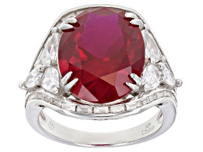 Red Lab Created Ruby And White Cubic Zirconia Rhodium Over Sterling Silver Ring 17.45ctw