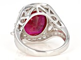Synthetic Red Corundum And White Cubic Zirconia Rhodium Over Sterling Silver Ring 17.45ctw