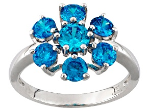 Blue Cubic Zirconia Rhodium Over Sterling Silver Ring 4.20ctw