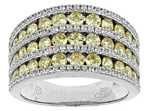 Yellow And White Cubic Zirconia Rhodium Over Sterling Silver Ring 2.60ctw