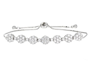 White Cubic Zirconia Rhodium Over Sterling Silver Adjustable Bracelet 4.40ctw