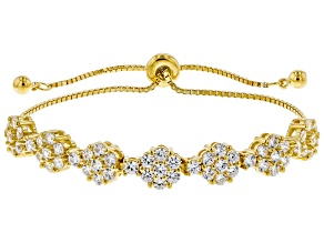White Cubic Zirconia 18k Yellow Gold Over Sterling Silver Adjustable Bracelet 4.40ctw