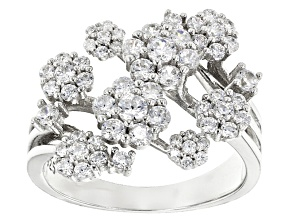 White Cubic Zirconia Rhodium Over Sterling Silver Ring 1.70ctw