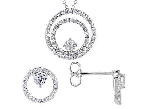 White Cubic Zirconia Rhodium Over Sterling Silver Pendant With Chain And Earrings 3.83ctw