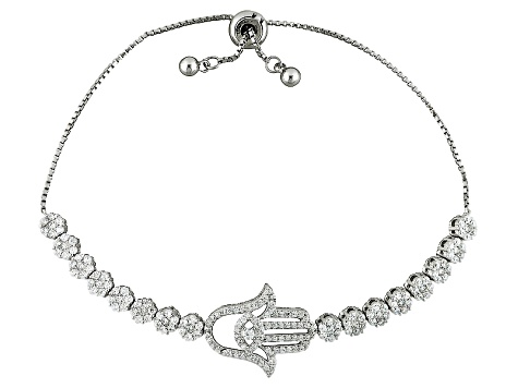 White Cubic Zirconia Rhodium Over Sterling Silver Adjustable Bracelet 3.01ctw