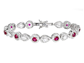 Lab Created Ruby And White Cubic Zirconia Rhodium Over Sterling Silver Bracelet 9.50ctw