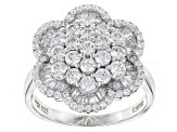 White Cubic Zirconia Rhodium Over Sterling Silver Ring 3.00ctw