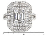 White Cubic Zirconia Rhodium Over Sterling Silver Ring 2.93ctw