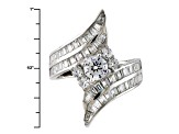 White Cubic Zirconia Rhodium Over Sterling Silver Ring 5.40ctw