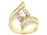 White Cubic Zirconia 18k Yellow Gold Over Sterling Silver Ring 5.40ctw