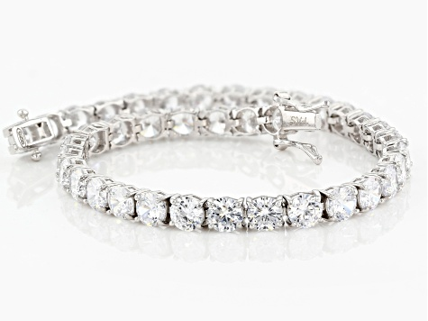 White Cubic Zirconia Rhodium Over Sterling Silver Bracelet 24.00ctw
