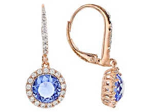 Blue And White Cubic Zirconia 18k Rg Over Sterling Silver Earrings 4.85ctw