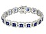 Created Blue Spinel And White Cubic Zirconia Rhodium Over Sterling Silver Bracelet 11.66ctw