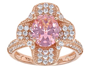 Pink And White Cubic Zirconia 18k Rg Over Sterling Silver Ring 5.90ctw
