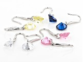 Blue, White , Pink And Yellow Cubic Zirconia Rhodium Over Sterling Silver Earrings 13.25ctw