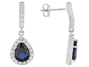 Blue Synthetic Spinel And White Cubic Zirconia Rhodium Over Sterling Silver Earrings 3.10ctw