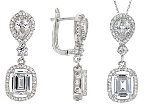 White Cubic Zirconia Rhodium Over Sterling Silver Earrings And Pendant With Chain 10.80ctw