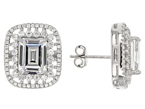 White Cubic Zirconia Rhodium Over Sterling Silver Earrings 5.20ctw