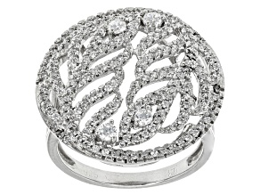 White Cubic Zirconia Rhodium Over Sterling Silver Ring 3.10ctw