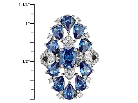 Blue And White Cubic Zirconia Rhodium Over Sterling Silver Ring 9.00ctw